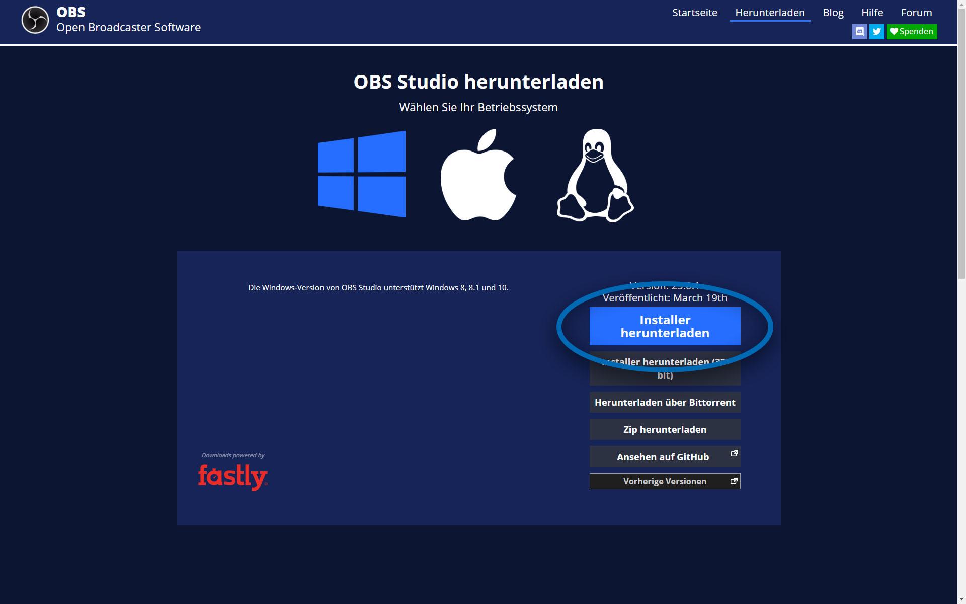 Screenshot der Download-Webseite für OBS Studio. Der Download-Button ist hervorgehoben.