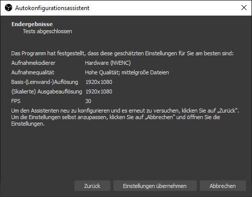 Screenshot aus OBS Studio. Der Konfigurationsassistent fasst die soeben festgelegten Einstellungen zusammen.