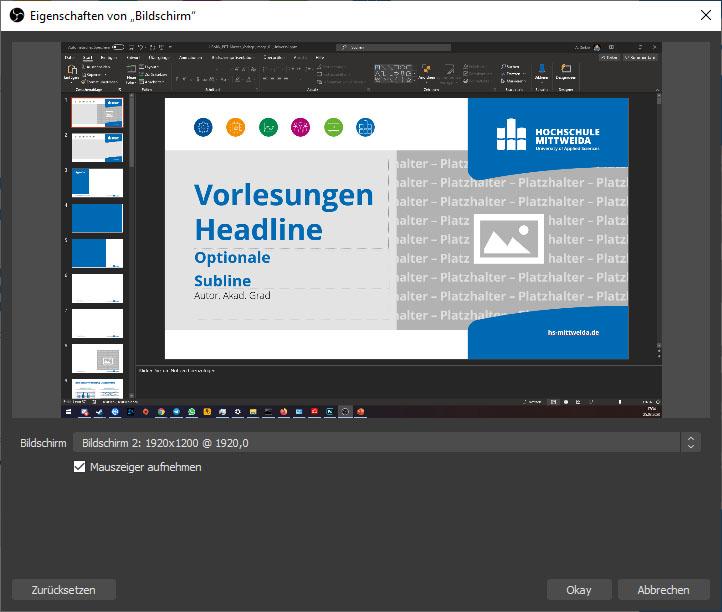 Screenshot der Eigenschaften der Bildschirmaufnahme. Bildschirm 2 ist ausgewählt und man sieht ein geöffnetes PowerPoint.