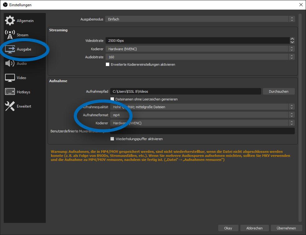 """Screenshot des OBS-Einstellungsfensters. Der Tab """"Ausgabe"""" ist geöffnet und die Option """"Ausgabeformat"""" ist hervorgehoben."""