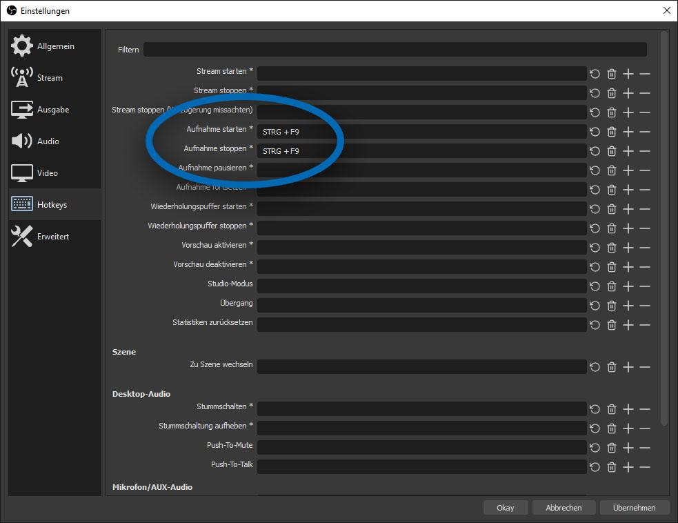 """Screenshot des OBS-Einstellungsfensters. Die Kategorie """"Hotkeys"""" ist geöffnet und den Optionen """"Aufnahme starten"""" und """"Aufnahme stoppen"""" wurde die Tastenkombination """"STRG + F9"""" zugewiesen."""