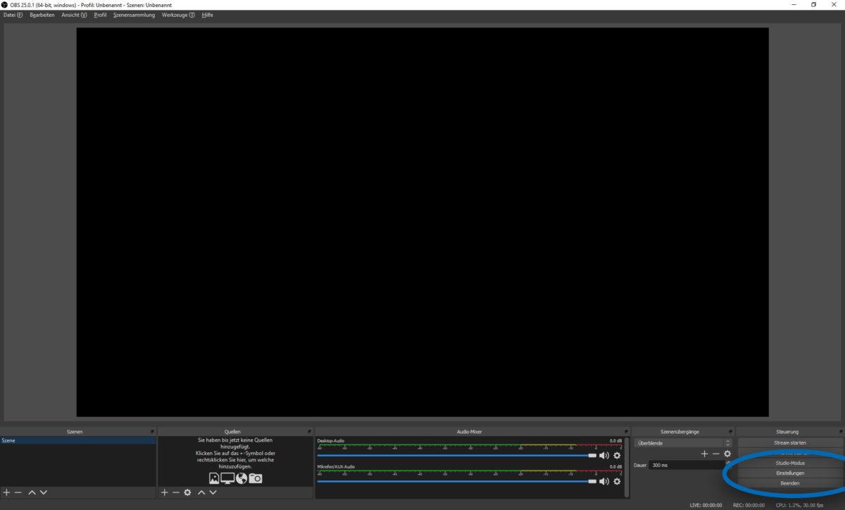 """Screenshot von OBS Studio. Der Button """"Einstellungen"""" ist hervorgehoben."""