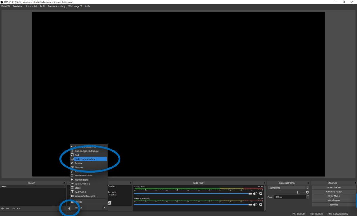 """Screenshot von OBS. Es wird gerade eine Quelle hinzugefügt. Die Option """"Bildschirmaufnahme"""" ist hervorgehoben."""