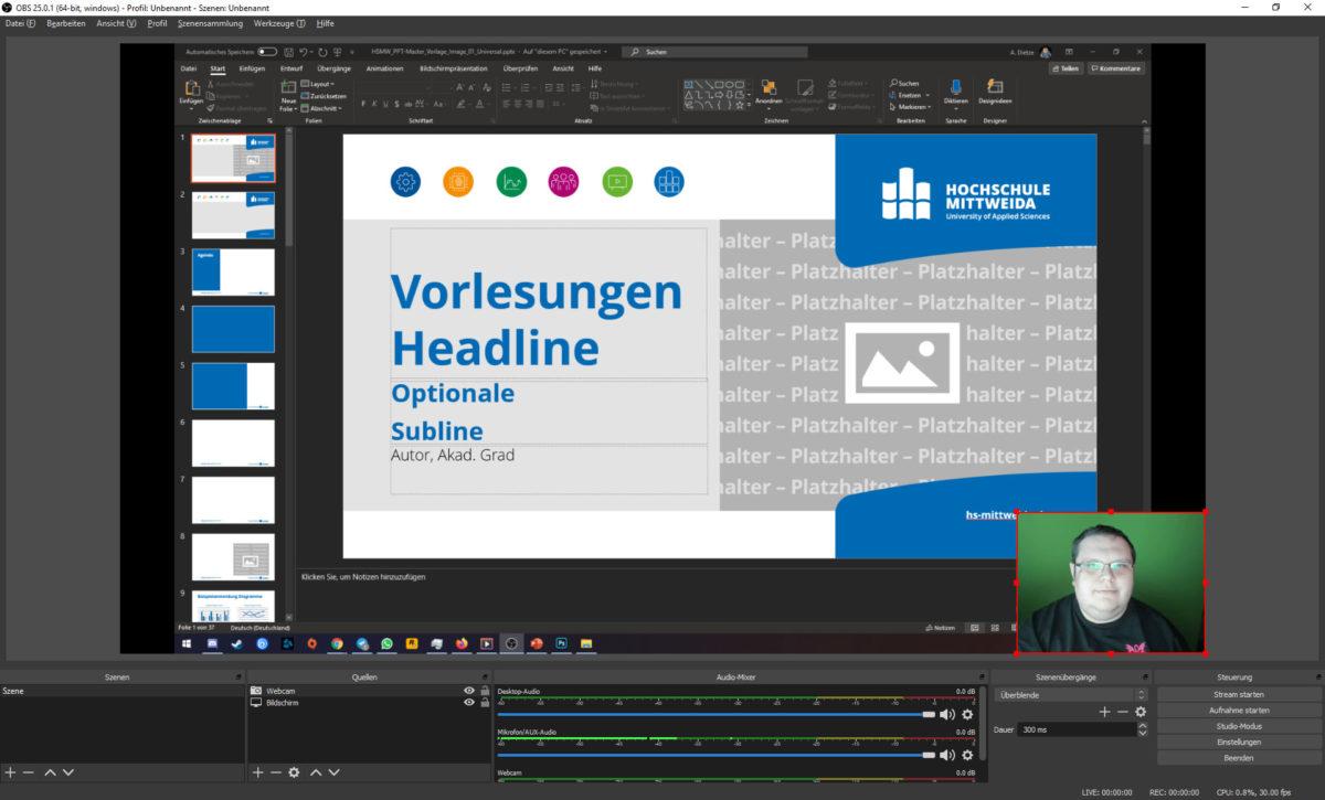 Screenshot aus OBS Studio. Es ist jetzt ein Webcam-Bild zu sehen, welches in die untere Rechte Ecke der Leinwand gezogen wurde.