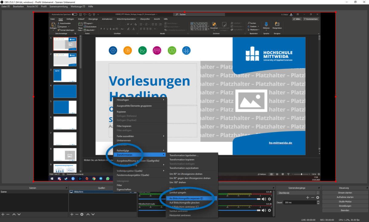 Screenshot von OBS. Es sind Kontextmenüs geöffnet, um eine Quelle auf die Bildschirmgröße anzupassen.